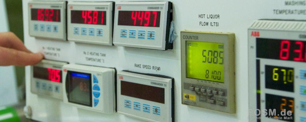 Bedienelemente für die Mash Tun und die Wassertanks