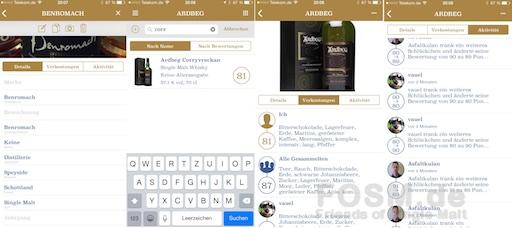 Editiermodus Whisky, Suche nach einem bestimmten Whisky (innerhalb der Brennerei), Verkostungsnotizen aus der Cloud, Aktivitäten aus der Cloud