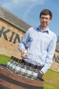Kingsbarns Distillery Manager Peter Holroyd with new make spirit