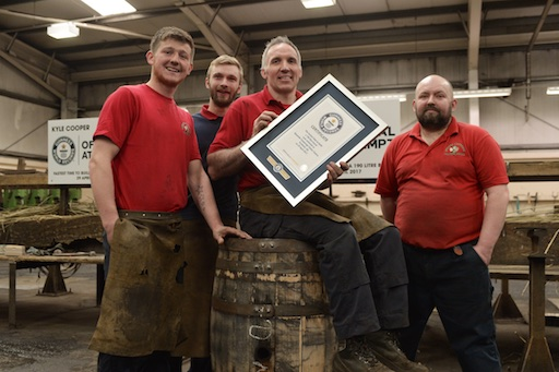 Speyside Cooperage, Scotland GUINNESS WORLD RECORDS ™ Speyside Cooperage – Fastest time to build a 190 litre barrel On Saturday 29th April 2017