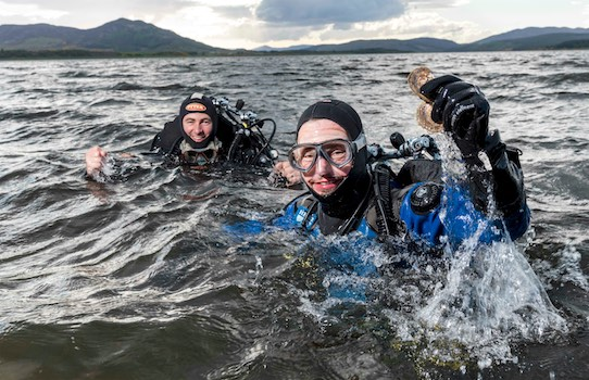 Dr Bill Sanderson (R) & George Stoyle (L) emerge from the Dornoch Firth